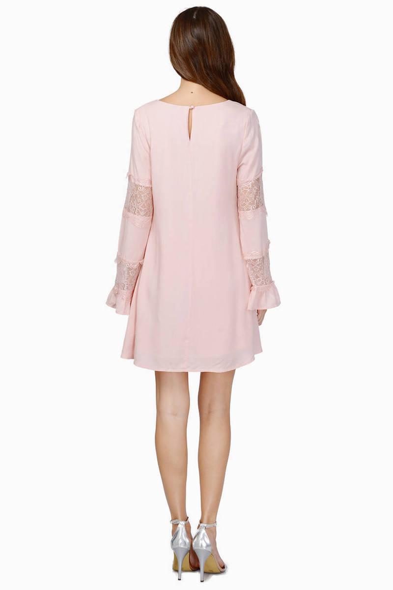 Berry Skater Dress - Pink Dress - Bell Sleeve Dress - $12.00