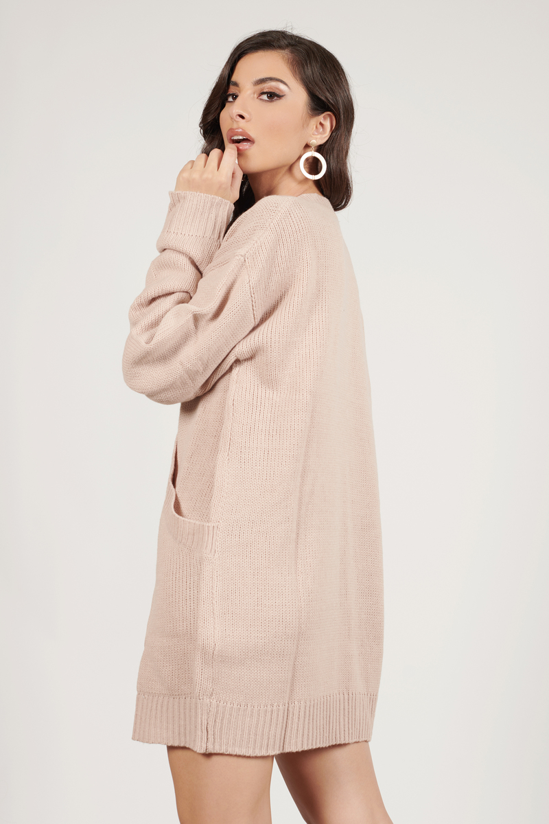 Cute Blush Dress - Deep V - Blush Oversized Sweater - $30 | Tobi US