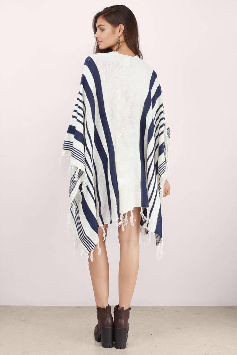 Cream & Navy Cardigan - Long Sleeve Cardigan - S$ 33 | Tobi SG
