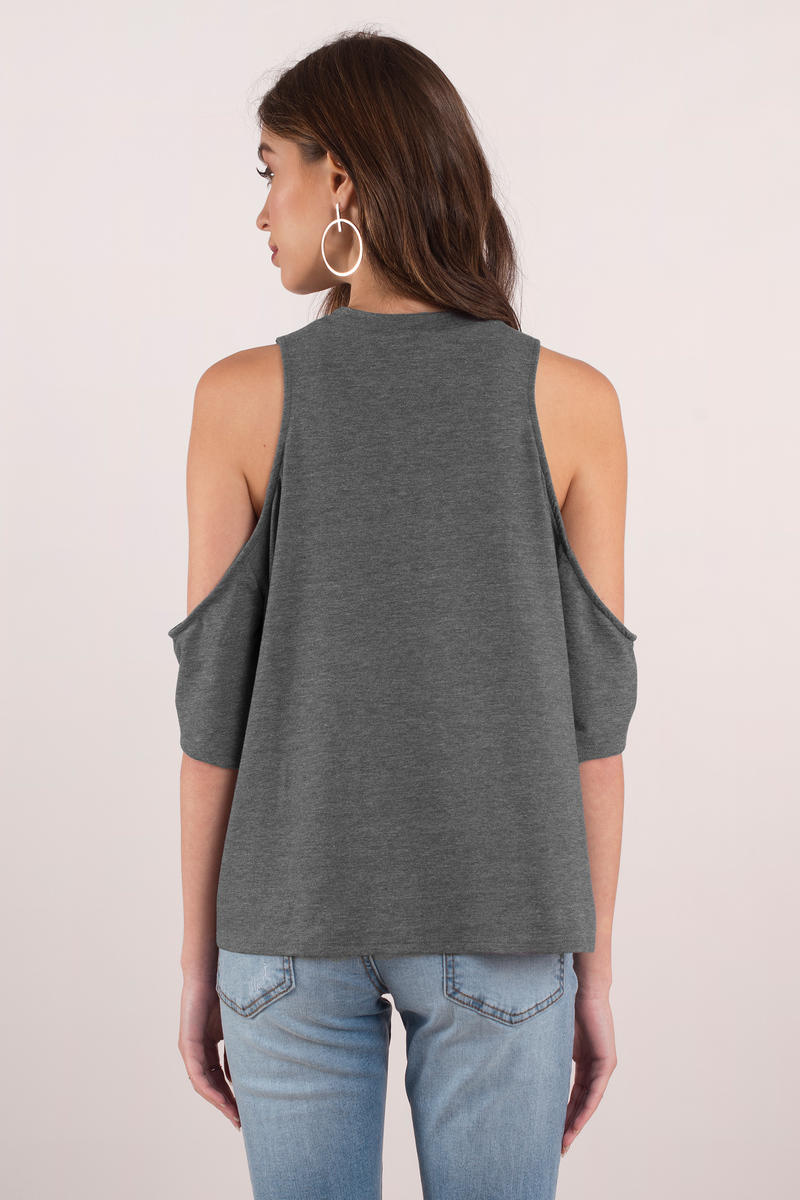 Grey Blouse Tops