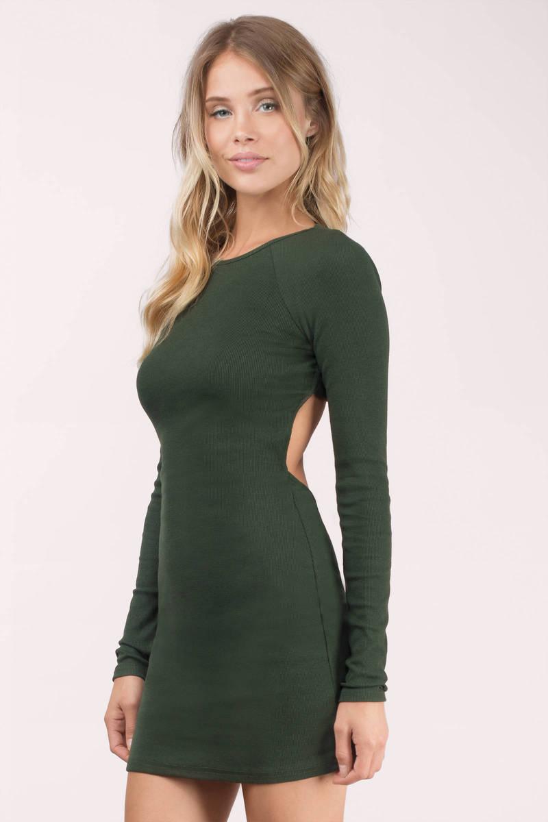 Wine Bodycon Dress - Raglan Dress - Forest Wine Long Sleeve Dress ...