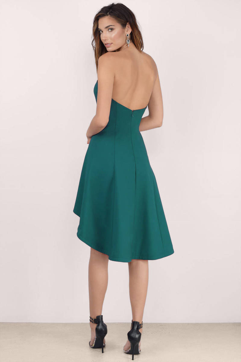 Cute Green Dress - Strapless Dress - Elegant Green Dress - Skater ...