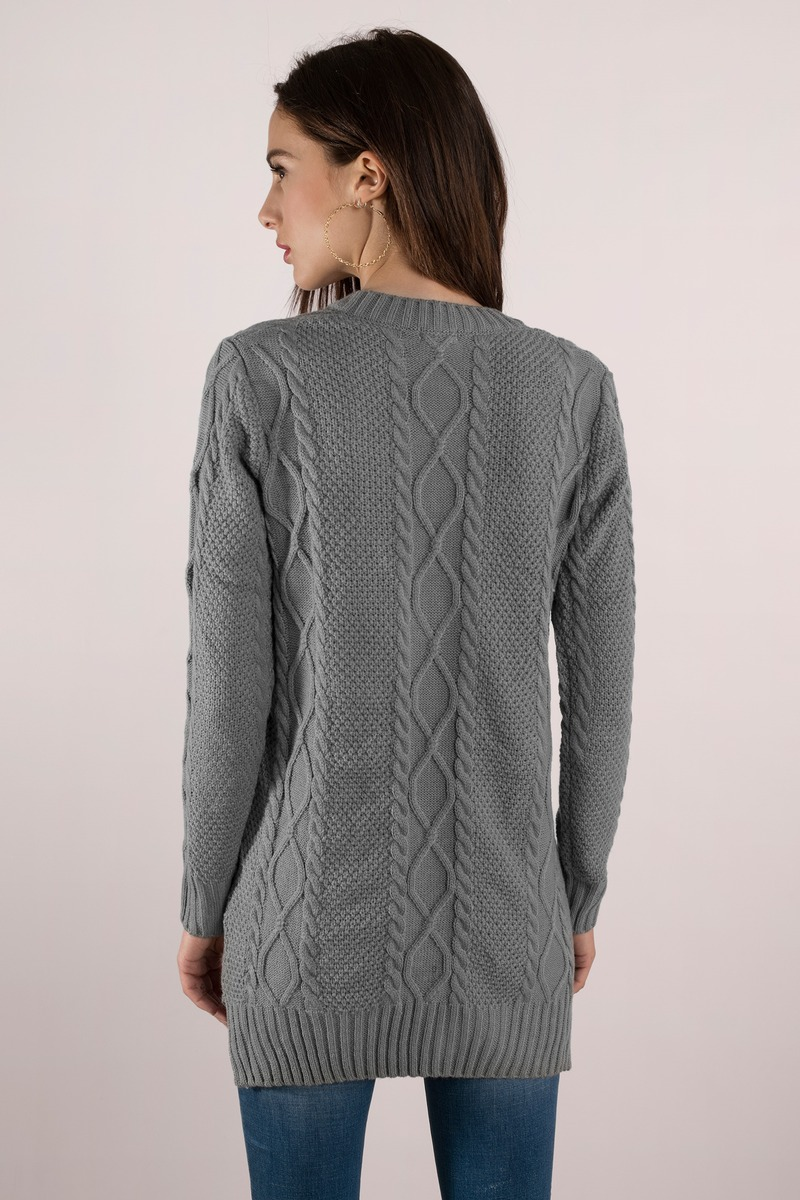 Grey Dress - Sweater Dress - Long Sweater - Day Dress - $22.00