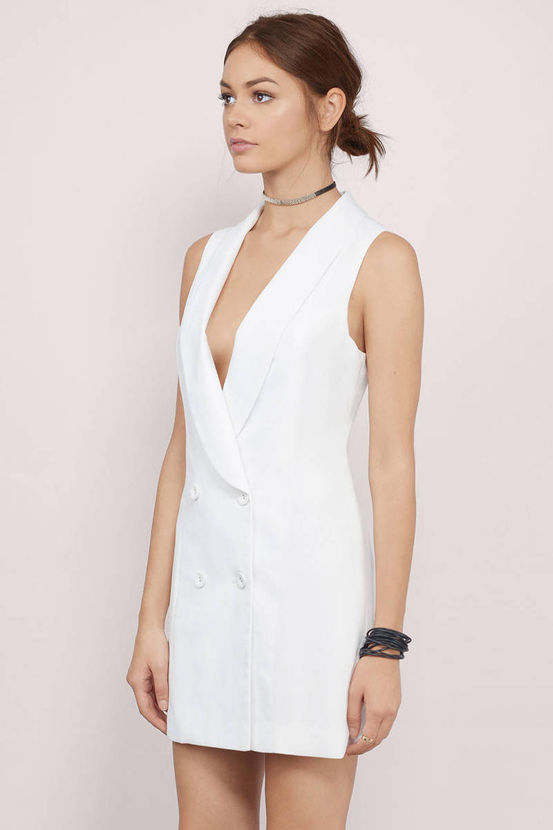 ladies and gents tuxedo ivory buttoned plunging wrap dress. Black Bedroom Furniture Sets. Home Design Ideas