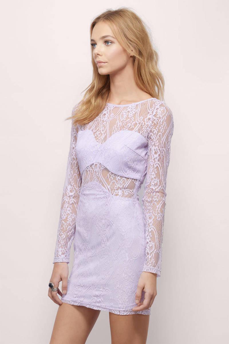 Lavender Bodycon Dress - Purple Dress - Sheer Dress - Bodycon ...