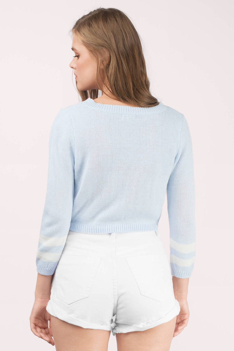 Light Blue & White Sweater - Blue Sweater - Pull Over ...