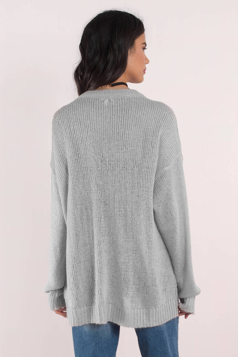 Penelope Light Grey Sweater - kr 383 | Tobi DK