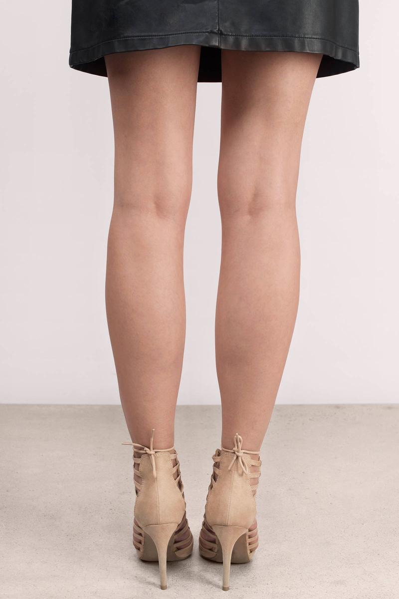 Trendy Natural Heels - Beige Heels - Lace Up Heels - $33.00