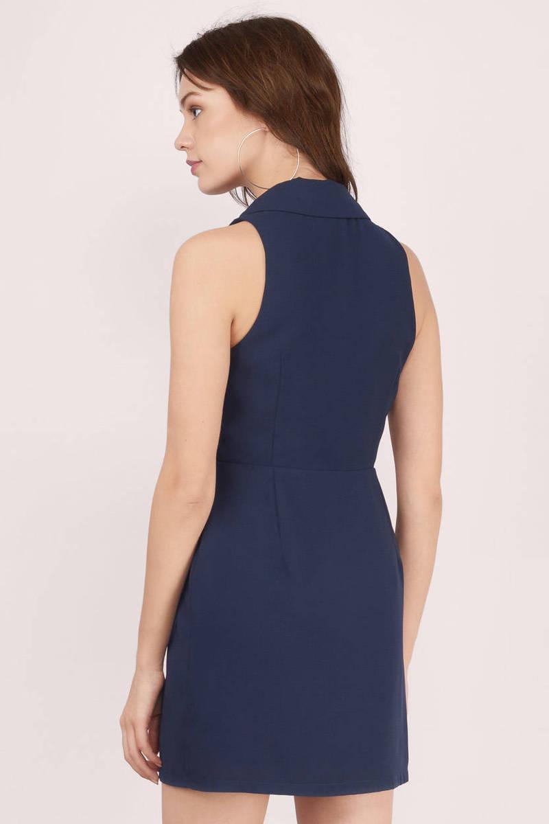 Navy Wrap Dress Blue Dress Sleeveless Dress 13 00