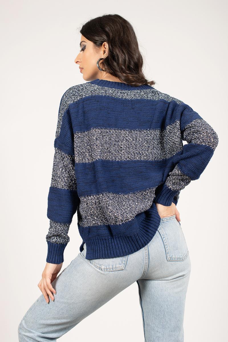 Ivory & Grey Sweater - White Sweater - Long Sleeve Sweater ...