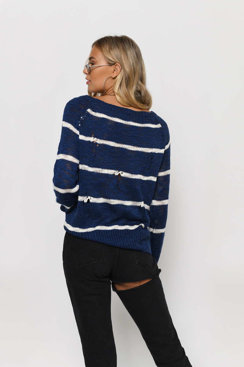 Navy & Ivory Sweater - Boat Neck Sweater - Blue Striped Sweater ...