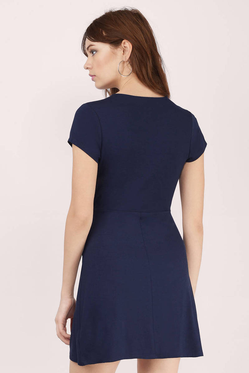 Navy Wrap Dress Blue Dress Draped Dress 40 00