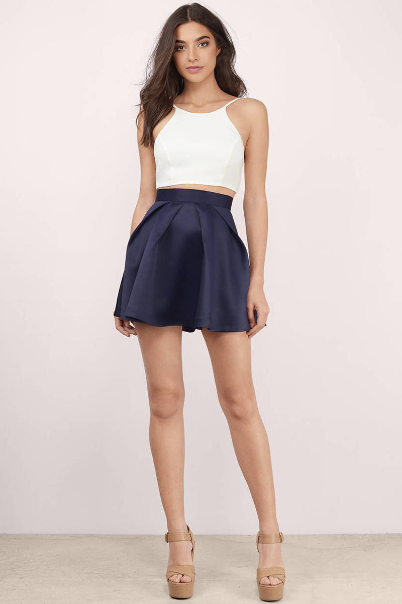 Navy Skirt - Blue Skirt - High Waisted Skirt - $27.00