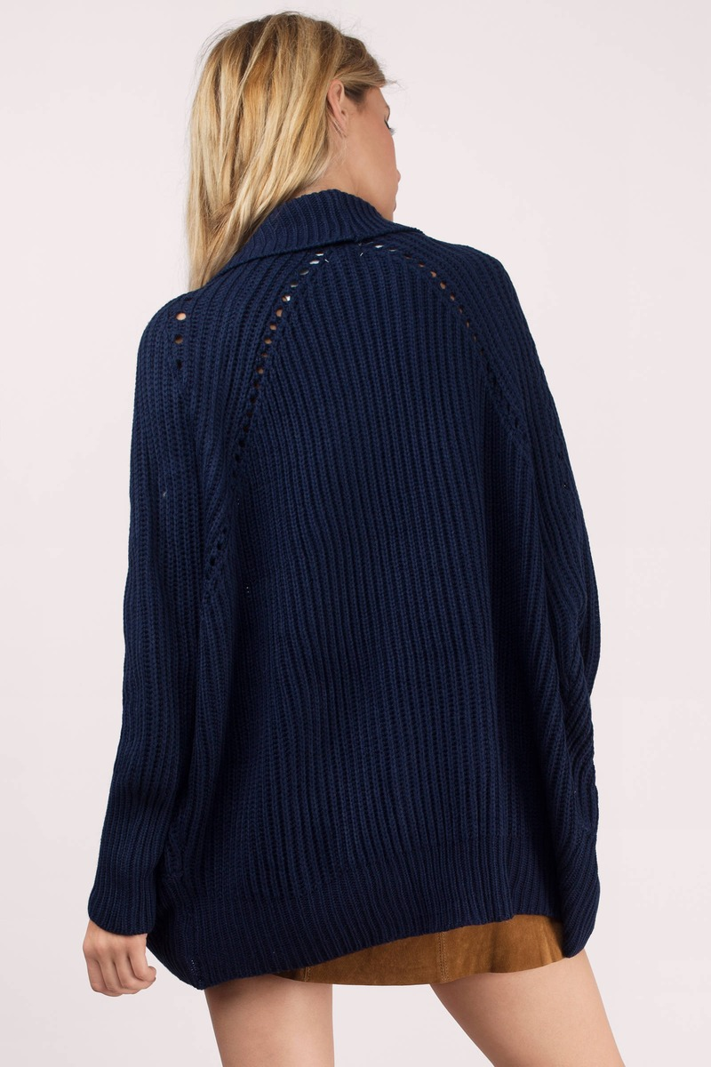 Cute Navy Cardigan - Draped Cardigan - Navy Cardigan - $17 | Tobi US