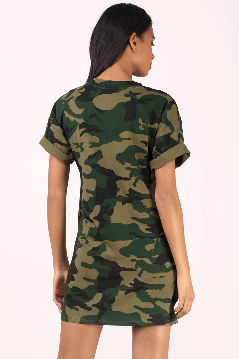Olive dress camo dress green dress army print dress for Camo print t shirt