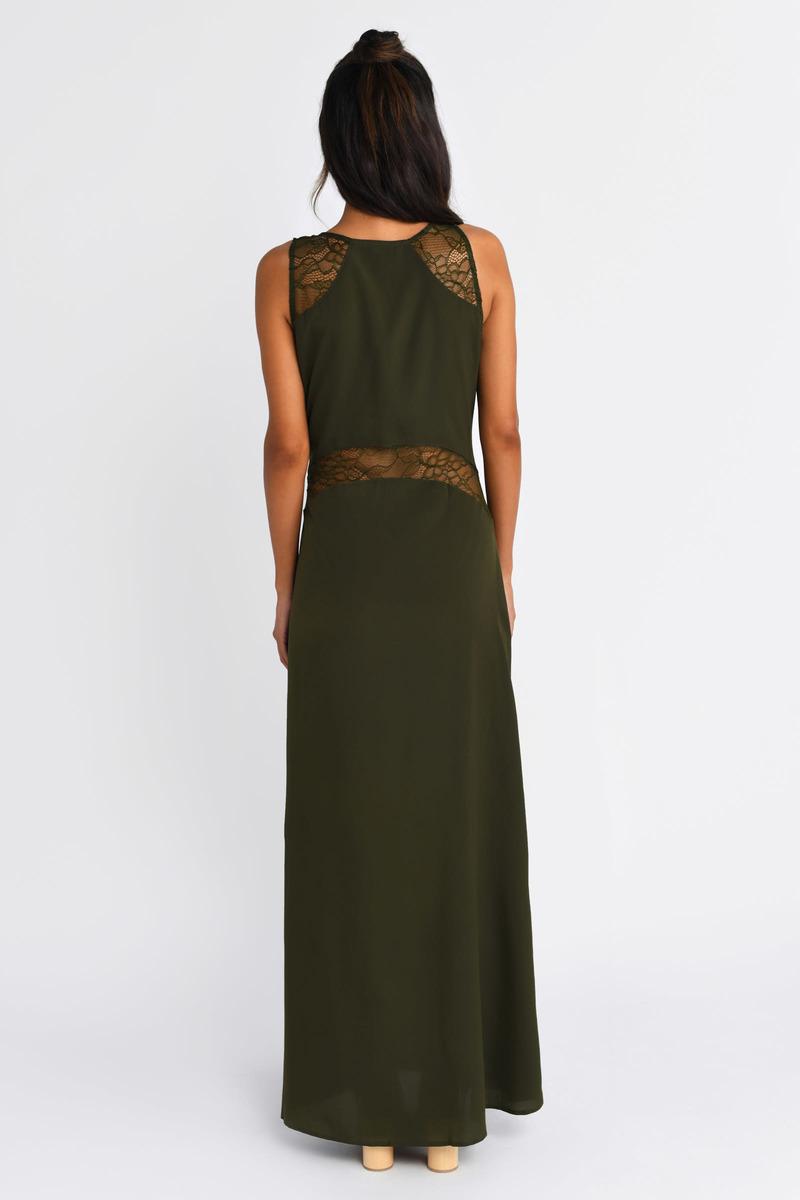 Cute Olive Maxi Dress - Lace Panel Dress - $11.00
