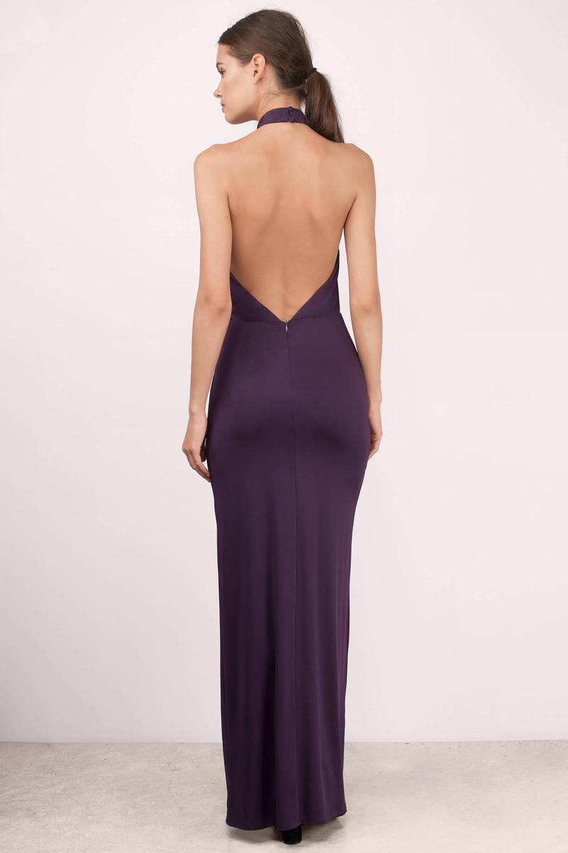 Plum Maxi Dress - Purple Dress - Front Slit Dress - $66.00