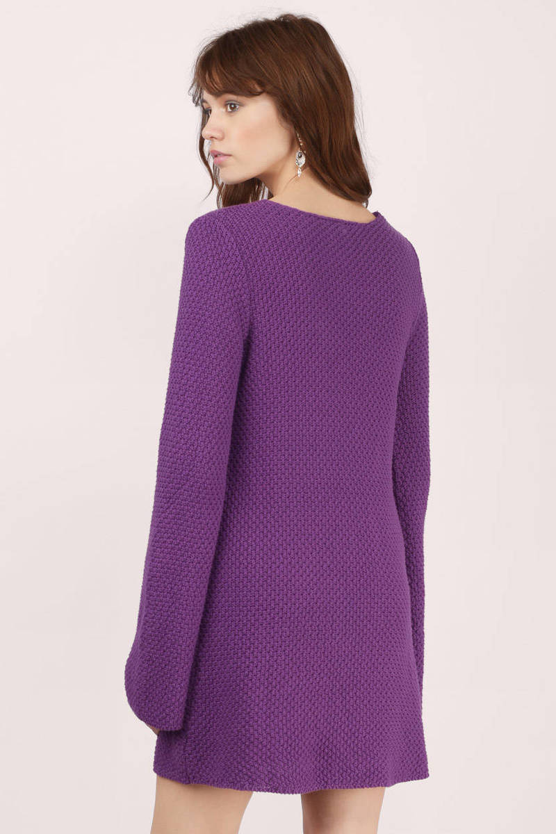 Plum Day Dress - Purple Dress - Sweater Dress - Purple Knit ...