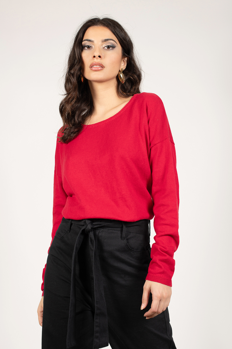 Black Sweater - Boat Neck Sweater - Dark Black Sweater - $22 | Tobi US