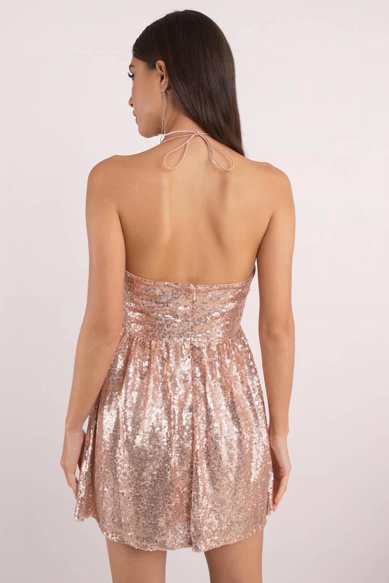 Avery Rose Gold Sequin Dress Tobi