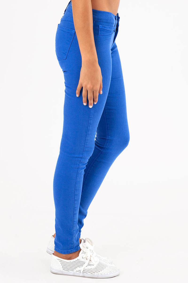 Royal blue colored skinny jeans – Global trend jeans models