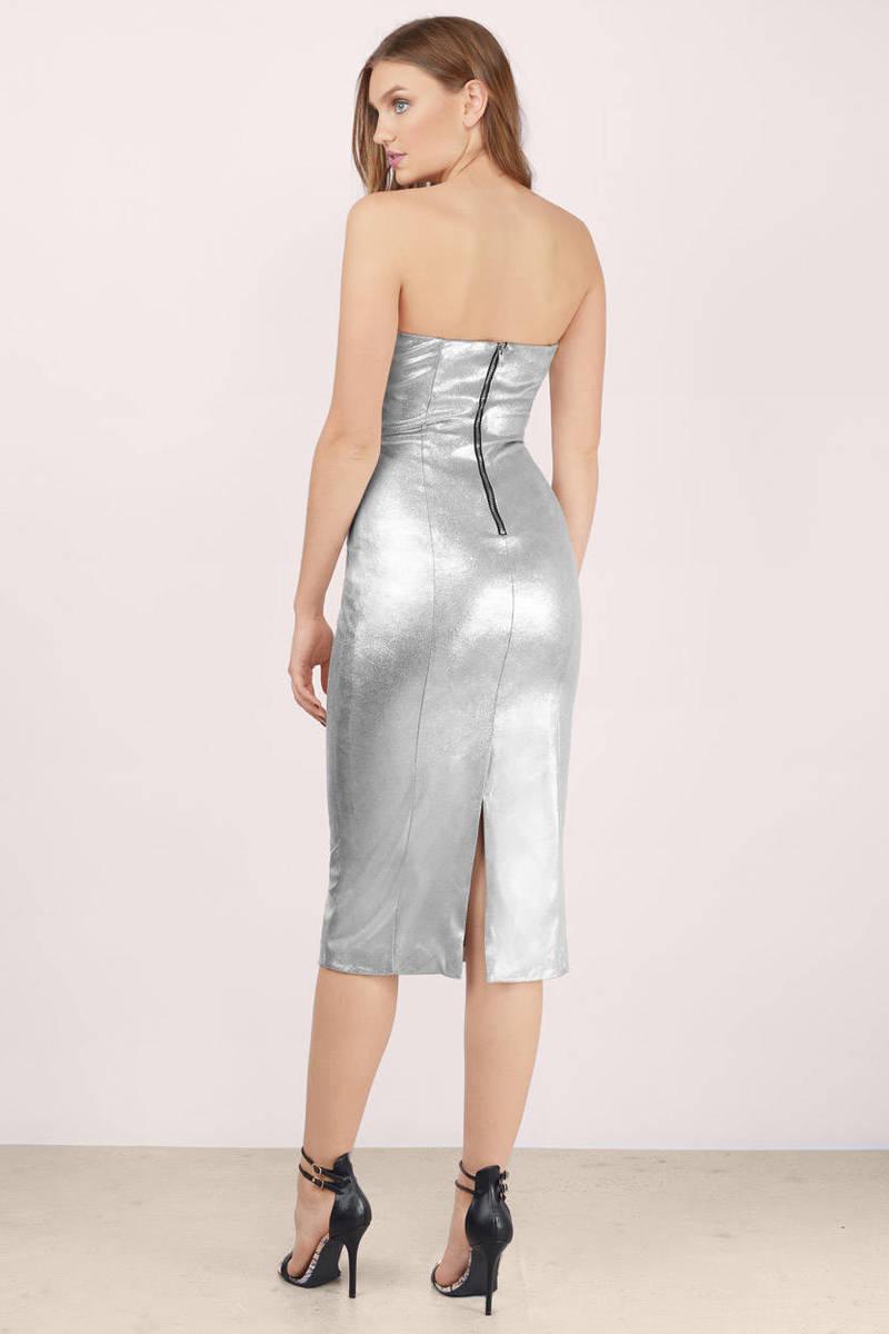 Trendy Silver Midi Dress - Silver Dress - V Neck Dress - $17.00
