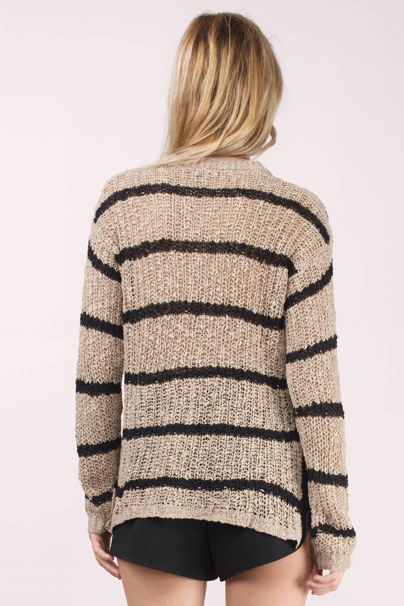 White & Navy Sweater - White Sweater - Navy Stripe Sweater - $15 ...