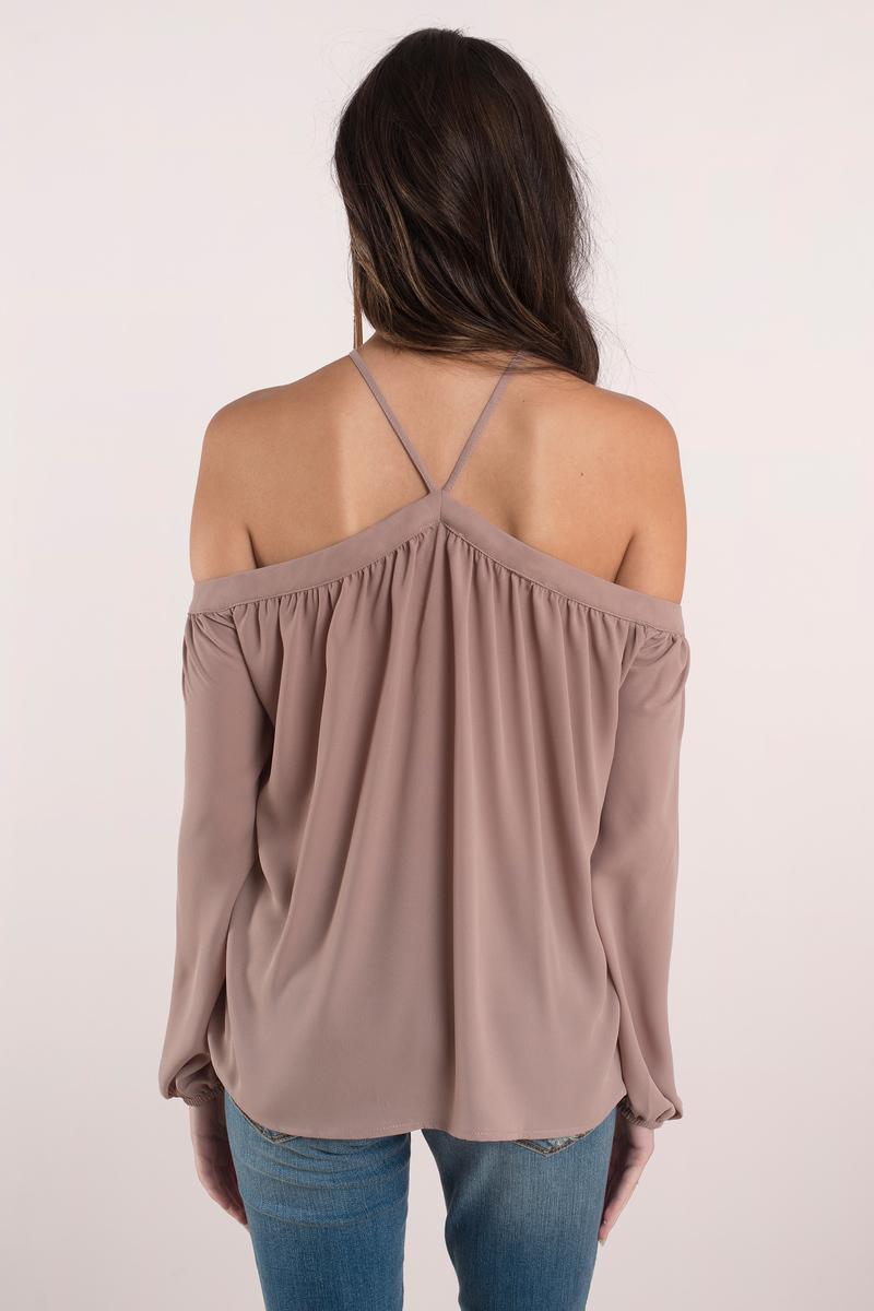 sexy taupe blouse cold shoulder blouse. Black Bedroom Furniture Sets. Home Design Ideas