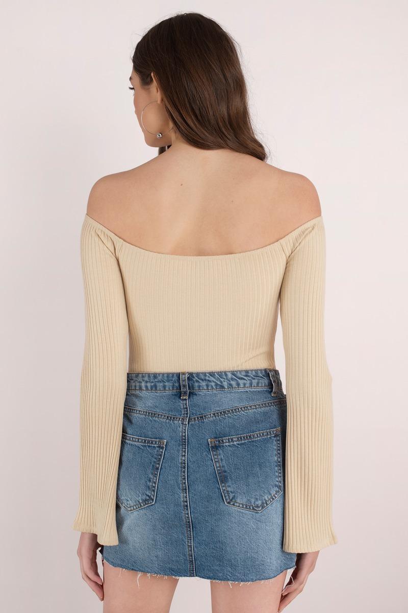 Cute Blush Bodysuit - Bell Sleeve Bodysuit - Blush Bodysuit - $54