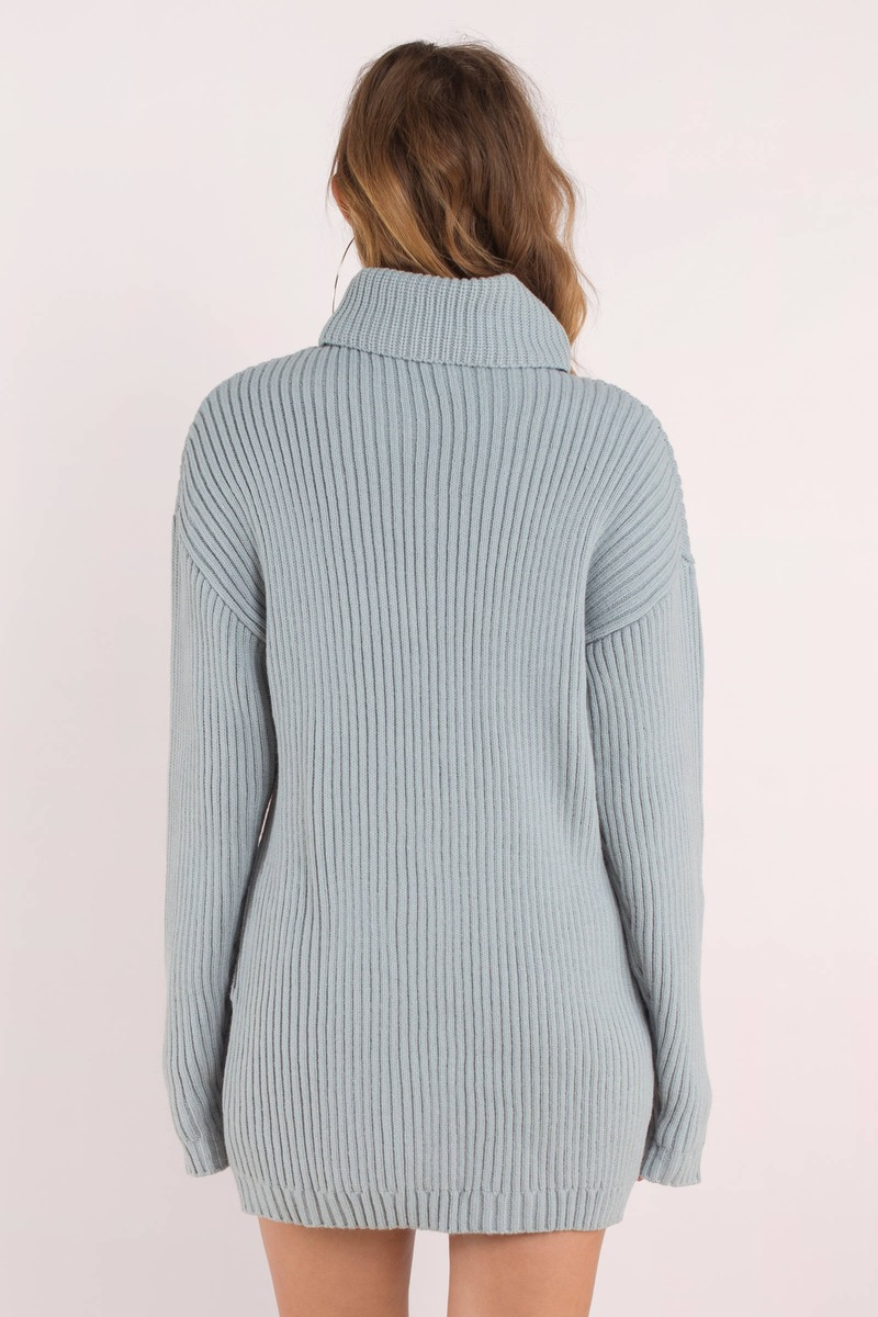 How Does It Feel Vintage Blue Turtleneck Sweater Dress - $35 | Tobi US