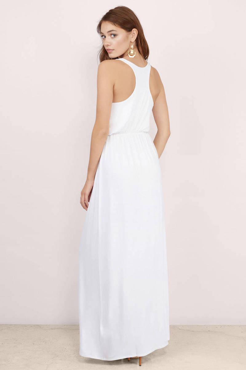 Cheap White Maxi Dress - Racerback Dress - $16.00