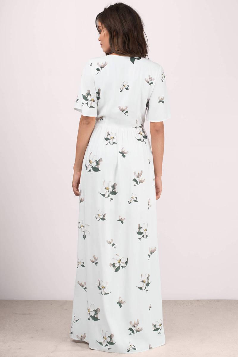 Trendy White Multi Maxi Dress Front Wrap Dress Maxi