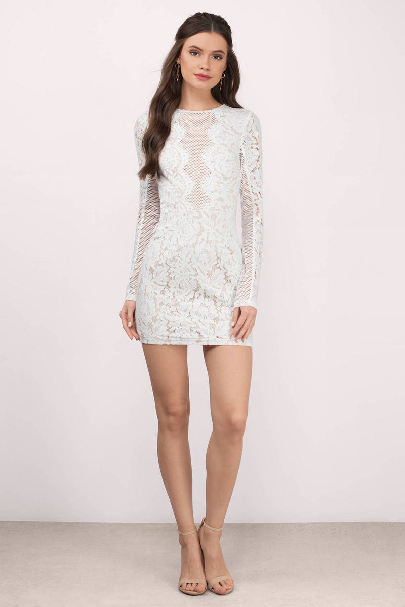 Cute Dress - Lace Bodycon Dress - Long Sleeve - White