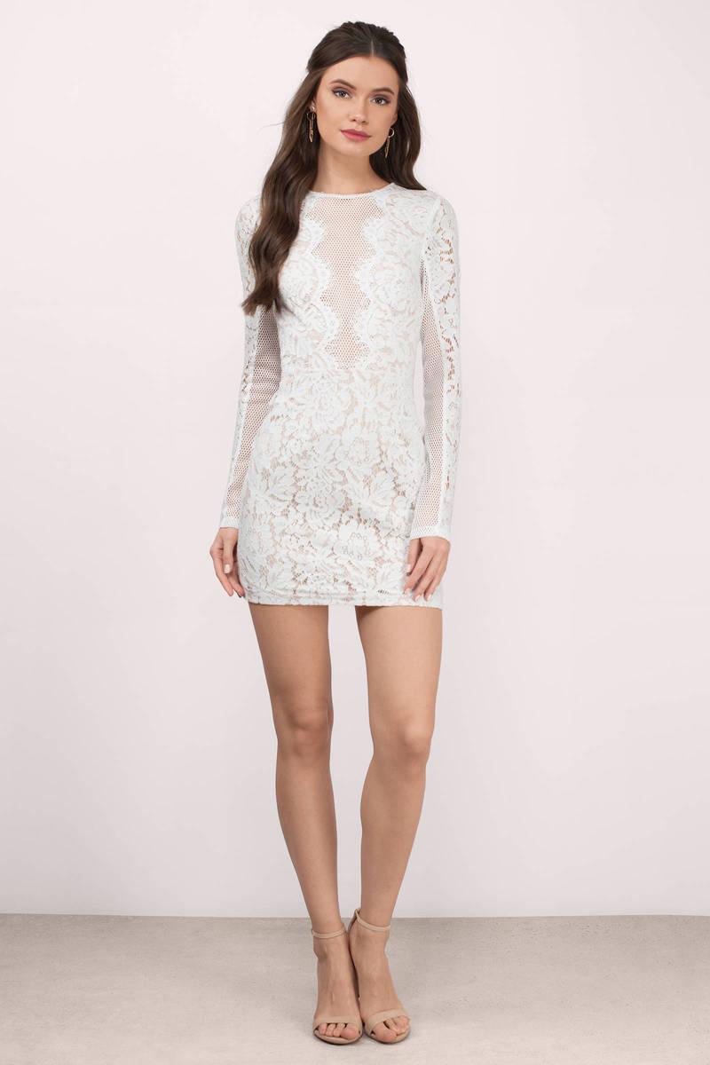 cute dress lace bodycon dress long sleeve white