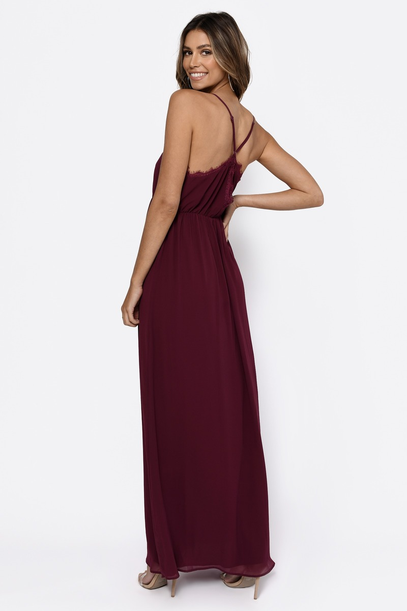 Wine color long dresses