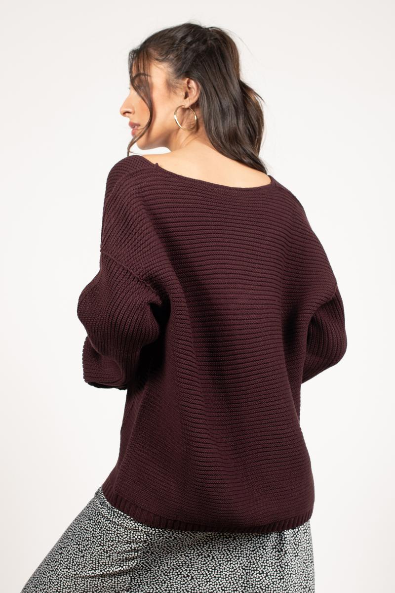 How Deep V Neck Mauve Sweater - $35 | Tobi US
