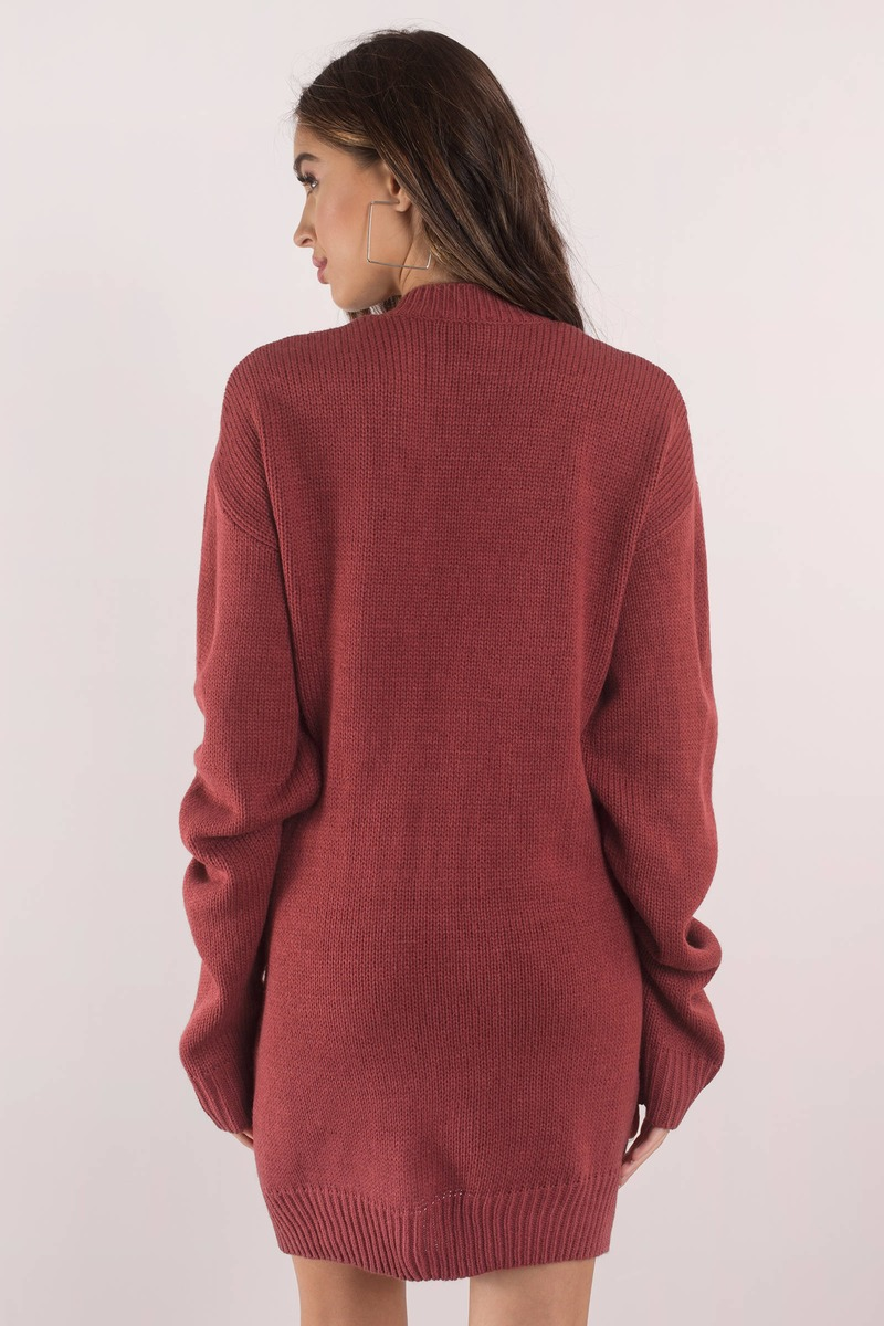 Cute Wine Dress Deep V Wine Oversized Sweater Tobi