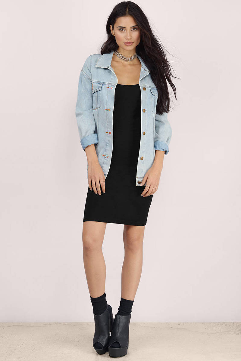 Black bodycon dress with jean jacket ever house fraser