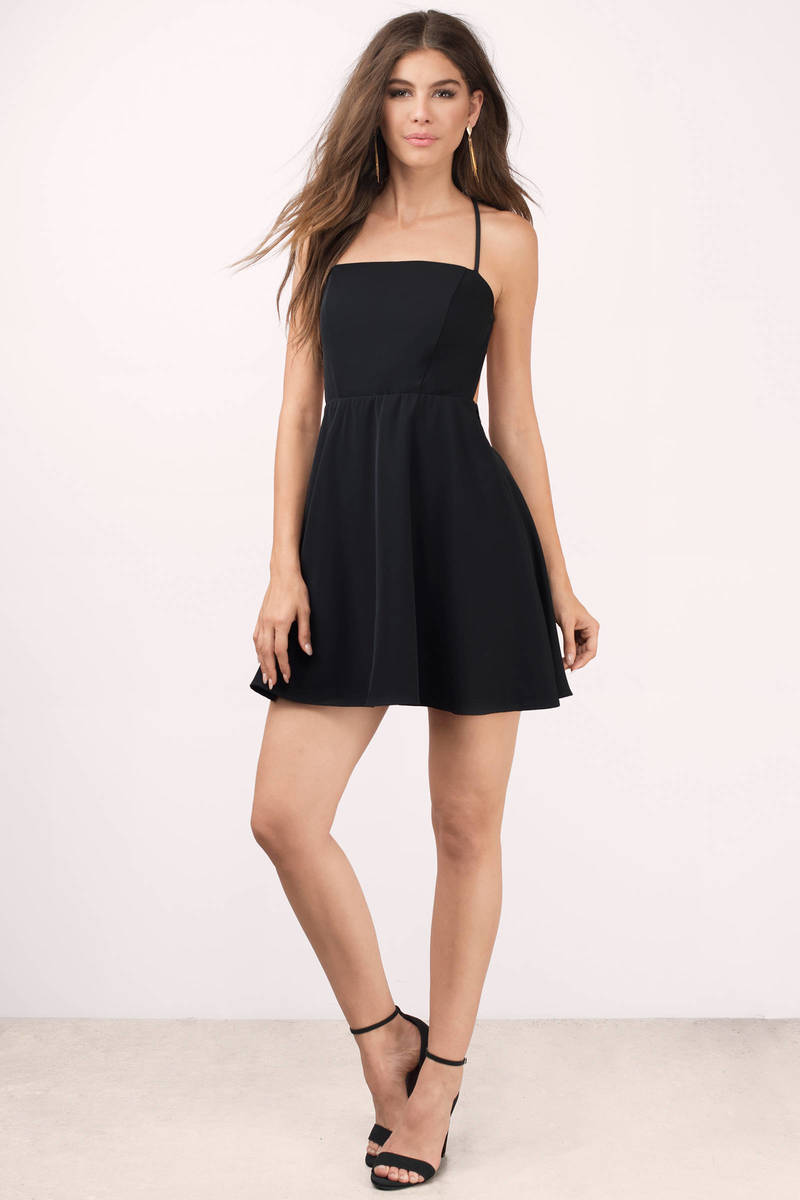 Black dress skater -  Grace Black Skater Dress