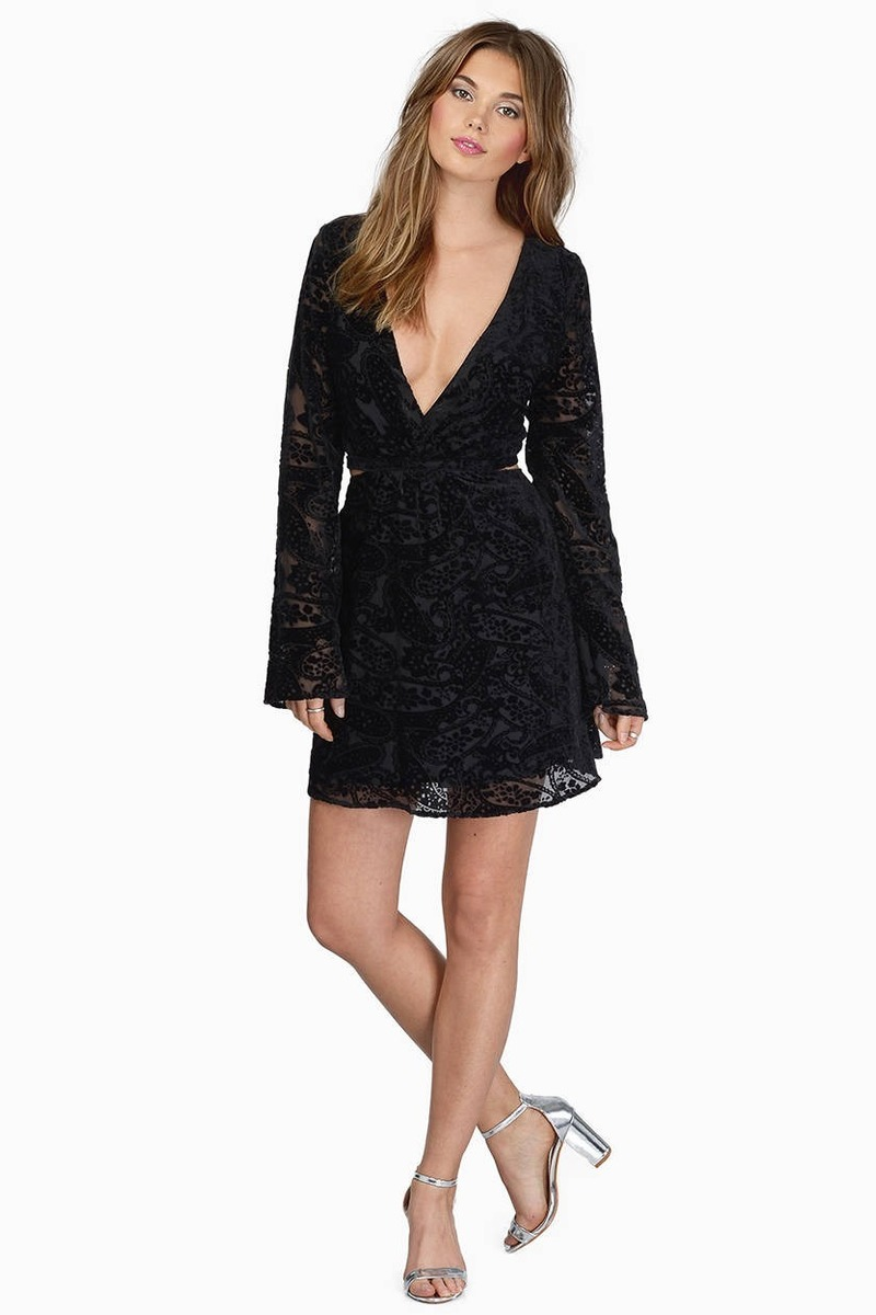 Black dress velvet -  Selena Black Velvet Skater Dress