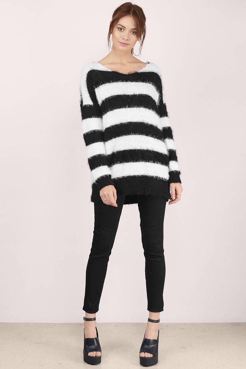 Black & White Sweater - Stripped Sweater - A Line Sweater - $16 ...