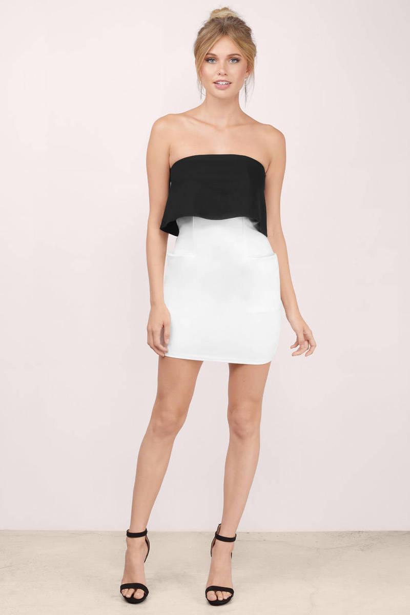 Black &ampamp White Bodycon Dress - Black Dress - Strapless Dress ...