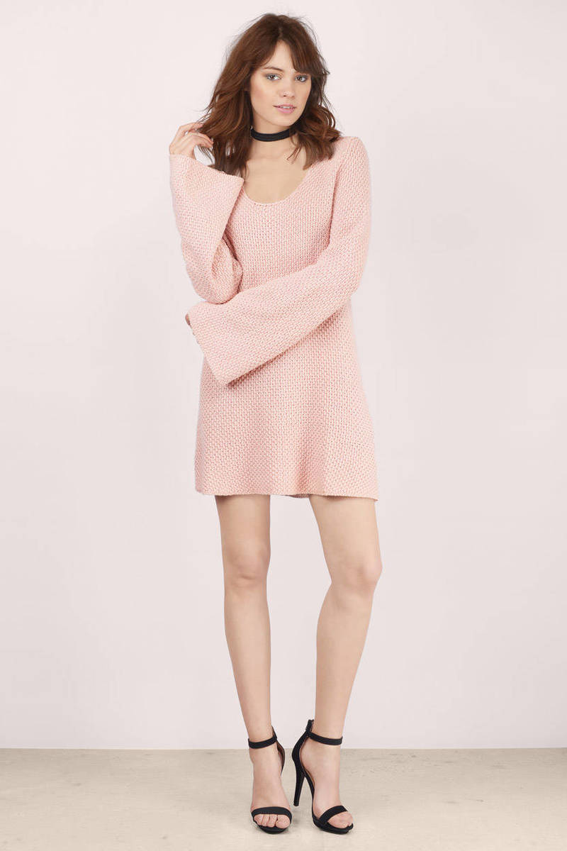 Blush Day Dress - Pink Dress - Sweater Dress - $29.00