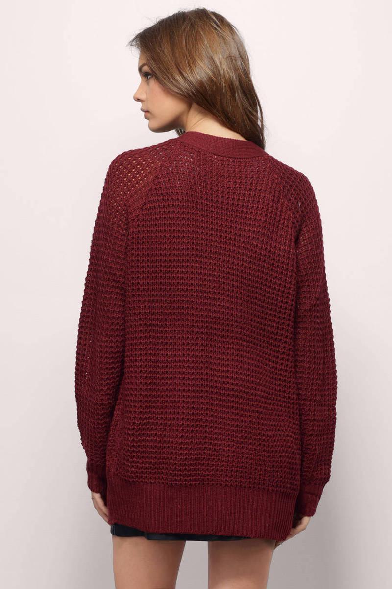 Burgundy Cardigan - Red Cardigan - Button Up Cardigan - $10.00