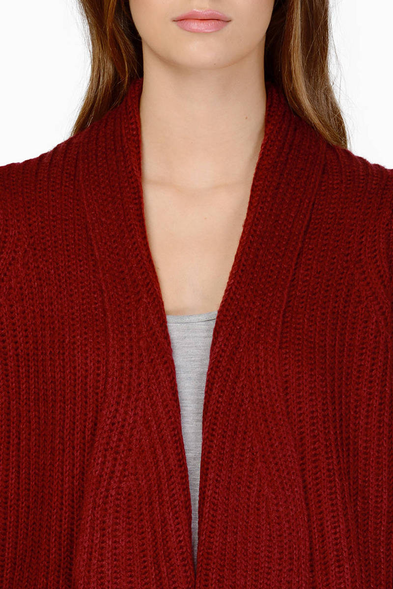 Burgundy Cardigan - Long Sleeve Cardigan - Burgundy Sweater - $27.00