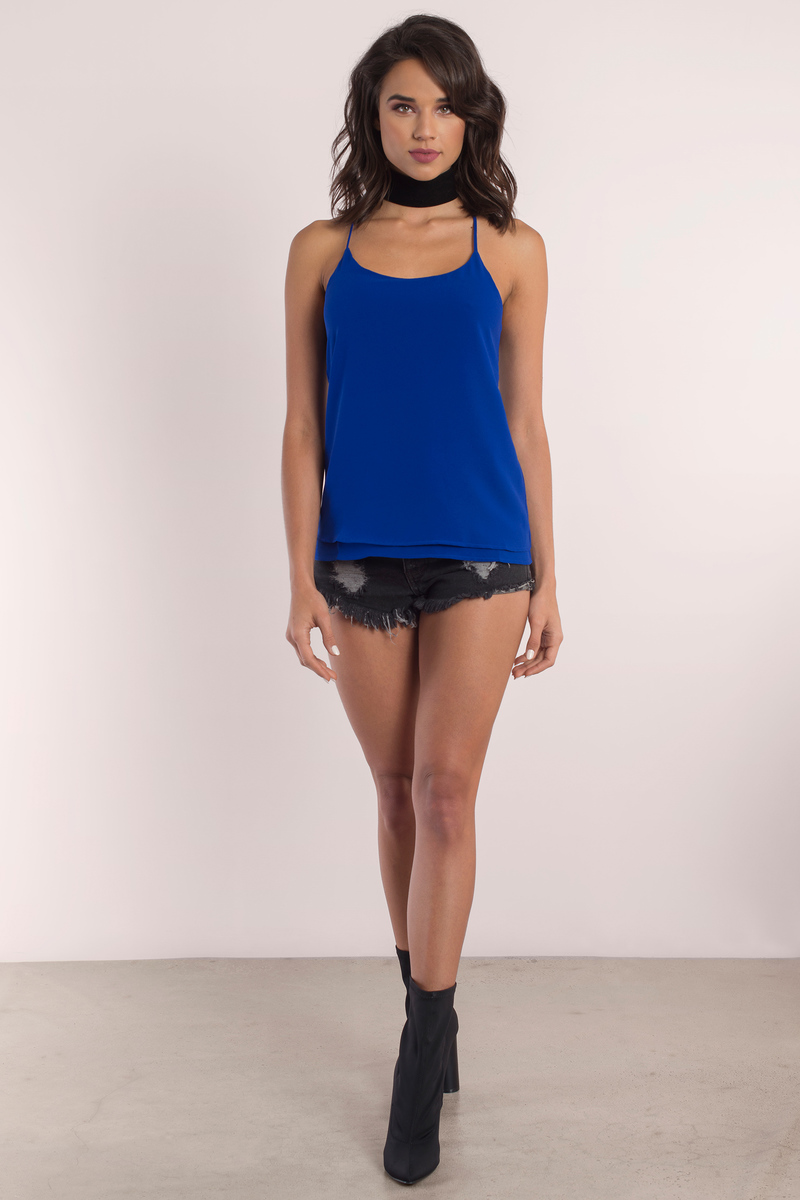 Top Blue Nail Art Designs To Suit Your Blue Costumes: Cobalt Tank Top