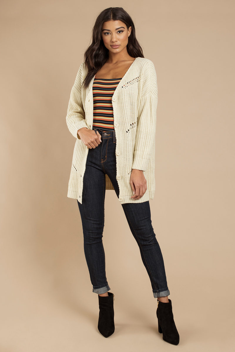 Trendy Cream Cardigan - Knitted Cardigan - Cream Cardigan - $18 ...