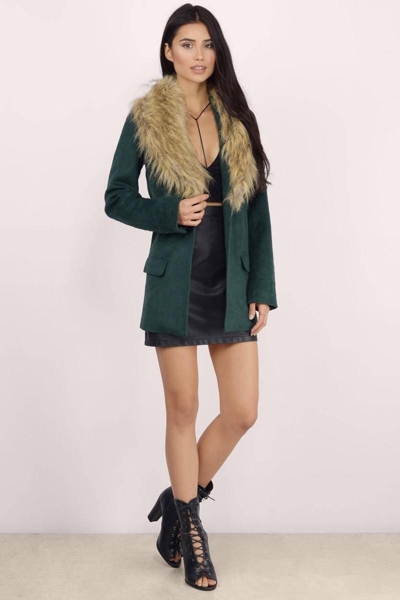 Trendy Black Coat - Black Coat - Faux Fur Coat - Black Coat - $55.00