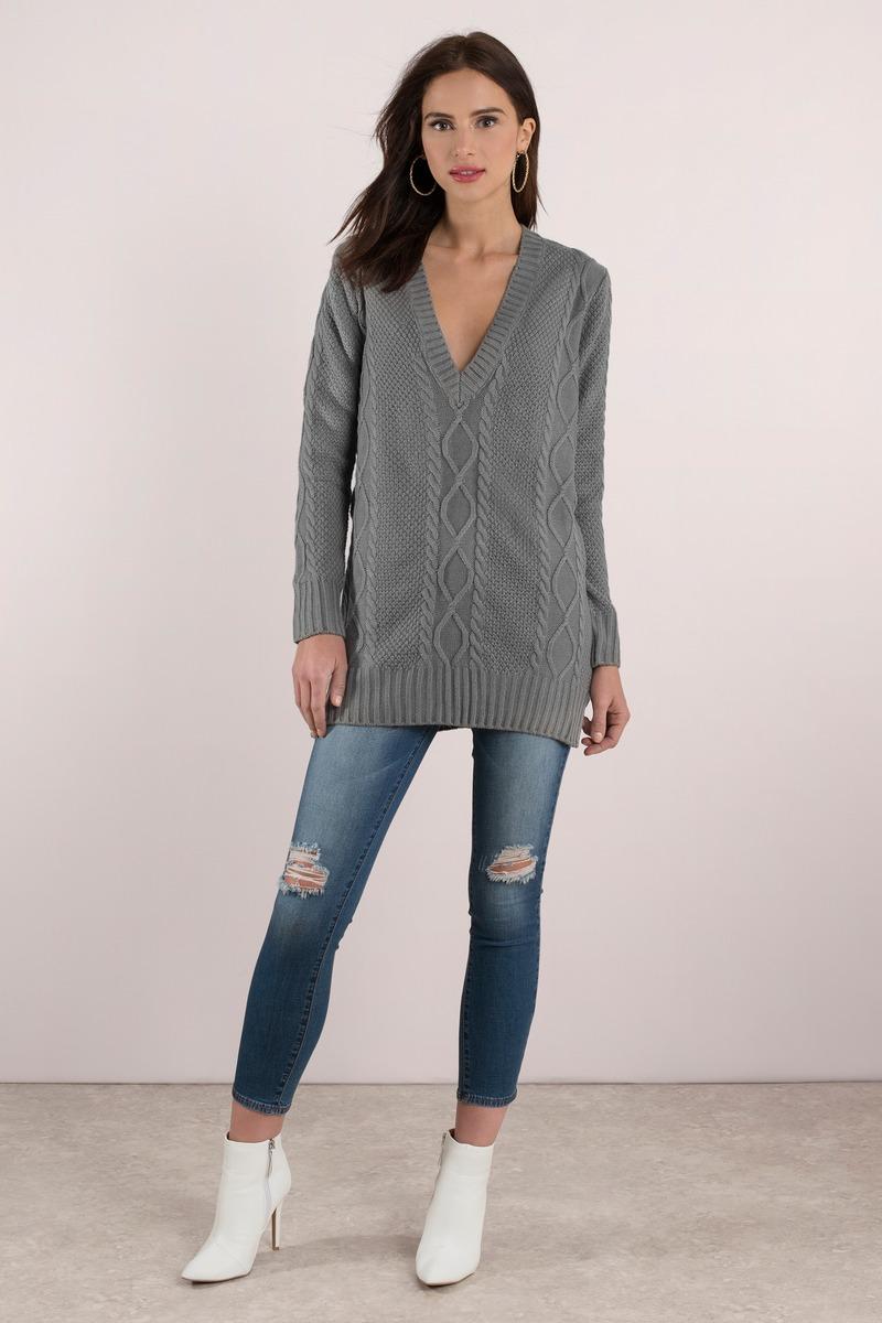 Grey Dress - Sweater Dress - Long Sweater - Day Dress - $22.00