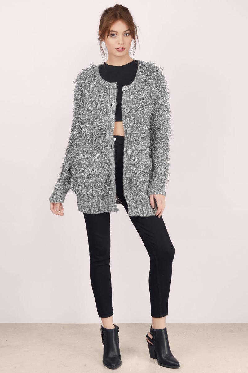 Cheap Grey Cardigan - Knitted Cardigan - Grey Cardigan - $26 | Tobi US
